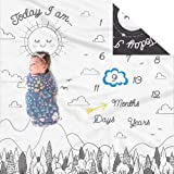 Double Sided Monthly Baby Milestone Blanket- Month Blanket for Baby Pictures | Photo Blanket with Baby Photo Props | Monthly Blankets for Newborns | Baby Boy Girl Milestone Blanket (Black and White)