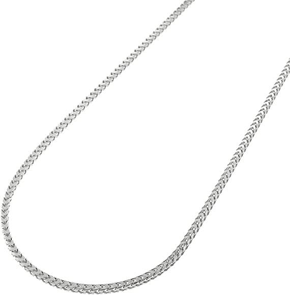 c70dcba8022b6 14K White Gold 1mm Solid Franco Square Box Link Necklace Chain 16