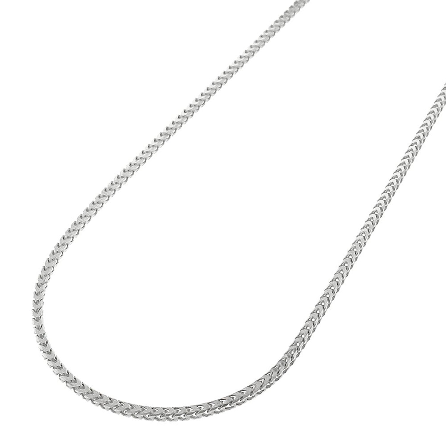 14k White Gold 1mm Solid Franco Square Box Link Necklace Chain 16'' - 24'' (20)