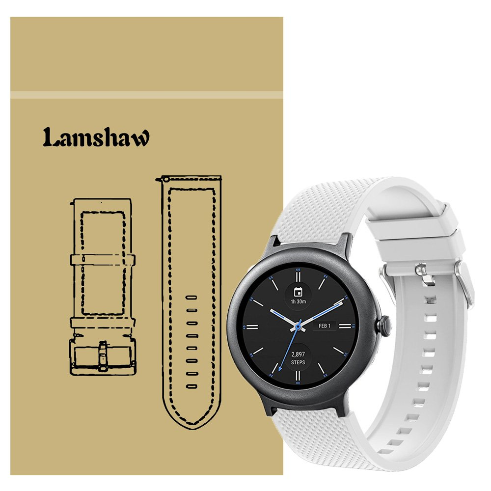 Lamshaw Smartwatch Bands LG Watch Style, New Silicone Sport Band for LG Watch Style Smartwatch (White)