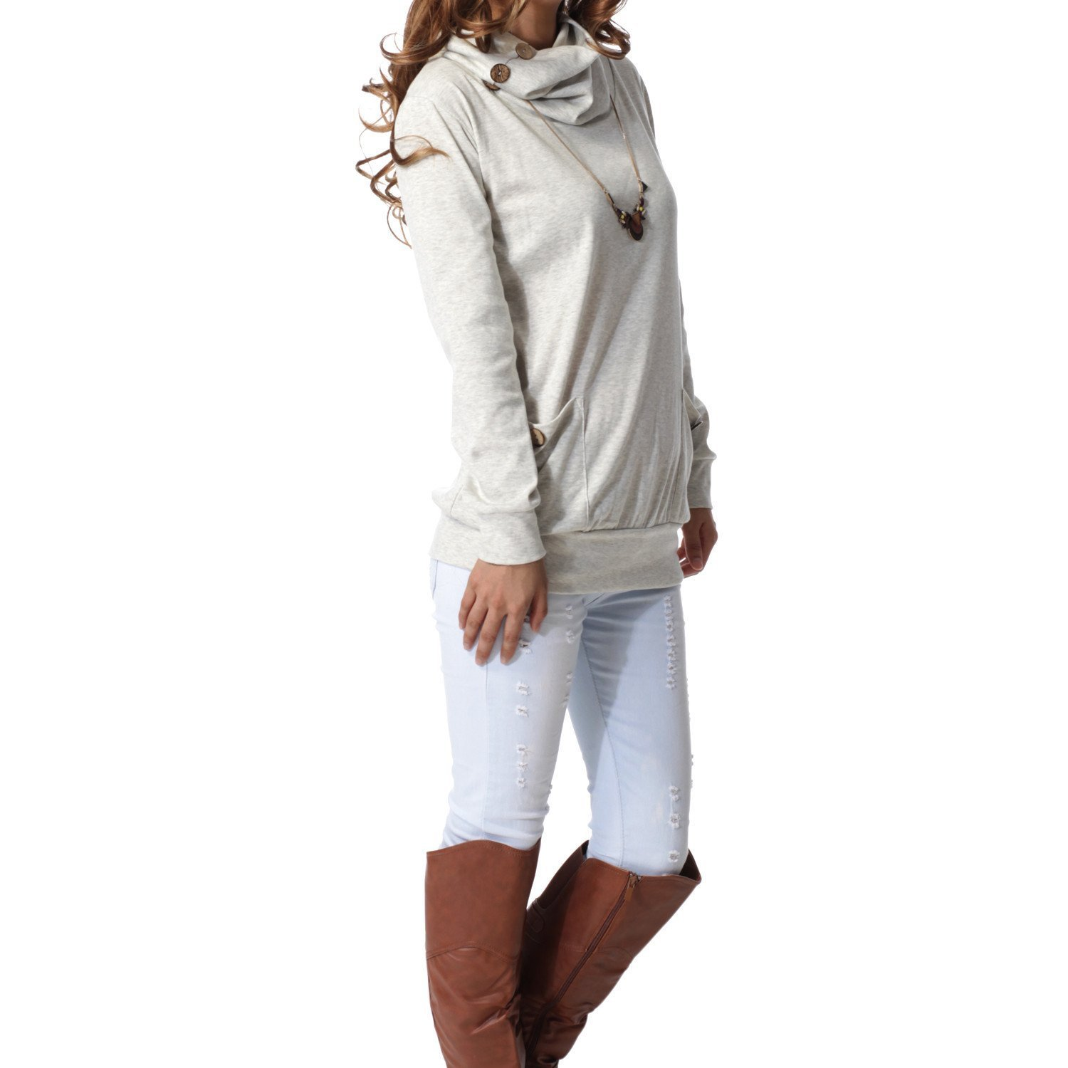 Donna Pierce Womens Long Sleeve Button Cowl Neck Casual Slim Tunic Tops With Pockets
