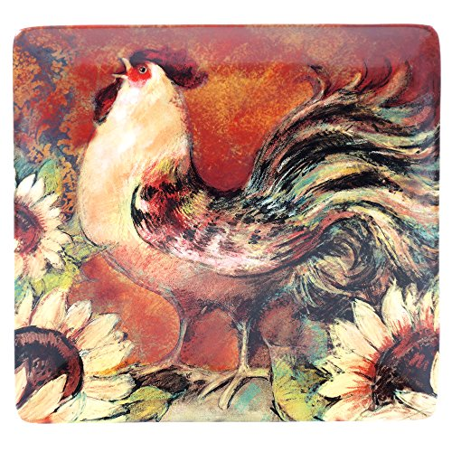 Rooster Square Platter - Certified International 17716 Sunflower Rooster Square Platter, 12.5