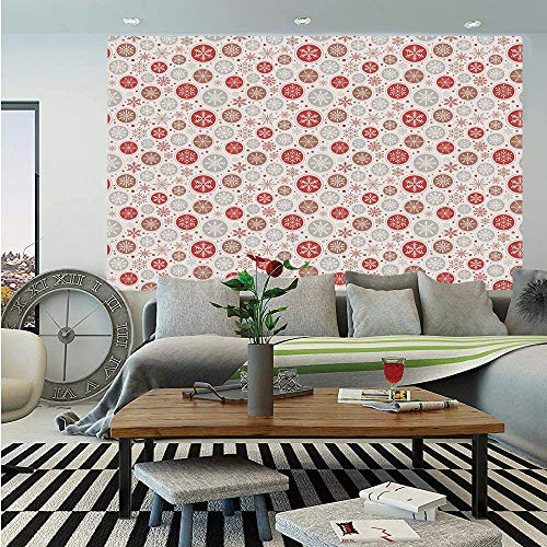 Christmas Huge Photo Wall Mural,Ornate Snowflakes Pattern in Circles Dots Winter Themed Old Fashioned Print Decorative,Self-adhesive Large Wallpaper for Home Decor 108x152 inches,Ruby Pale Grey ()