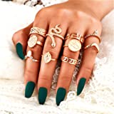 Cathercing Women Rings Set Knuckle Rings Gold Bohemian Rings for Girls Vintage Gem Crystal Rings Joint Knot Ring Sets…