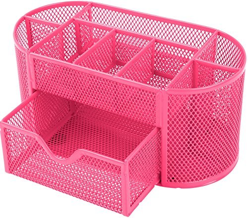 GPCT Office School Home/Teacher Supplies Mesh Desk Pen Organizer. Comes W/ 4 Pencil Cups For Highlighters/Pens/Sharpie, 4 Square Compartments For Paper Clips/Sticky Notes & 1 Supply Drawer- Hot Pink