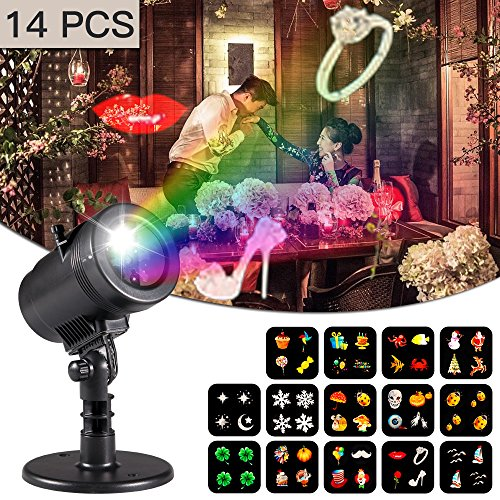 Outdoor Rotating Pub Light - Valentines Decorations Projector lights Lychee outdoor Moving Rotating Projector LED Spotlights Waterproof projection Led lights w/14pcs Switchable pattern lens for Wedding Halloween Xmas Decoration.