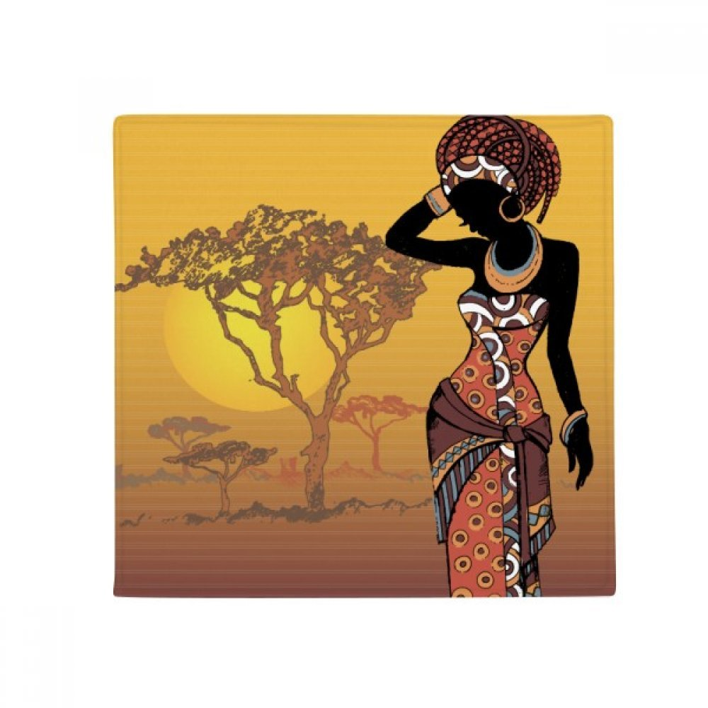DIYthinker African Savanna Black Women Dresses Anti-Slip Floor Pet Mat Square Home Kitchen Door 80Cm Gift