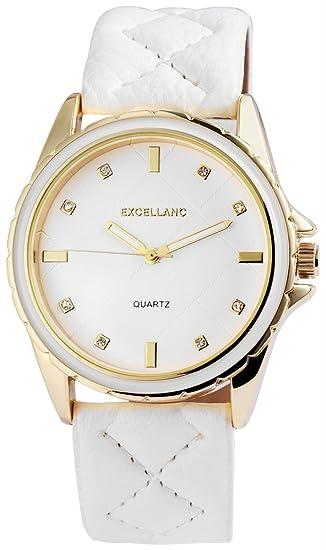 Reloj mujer oro blanco brillantes piel mujer reloj de pulsera: Amazon.es: Relojes
