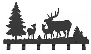 Wander Agio Deer Tree Forest Elk Cartoon Animal Metal Wall Mounted Bag Hanger Coat Rack Clothing Hooks Hanging Racks Black