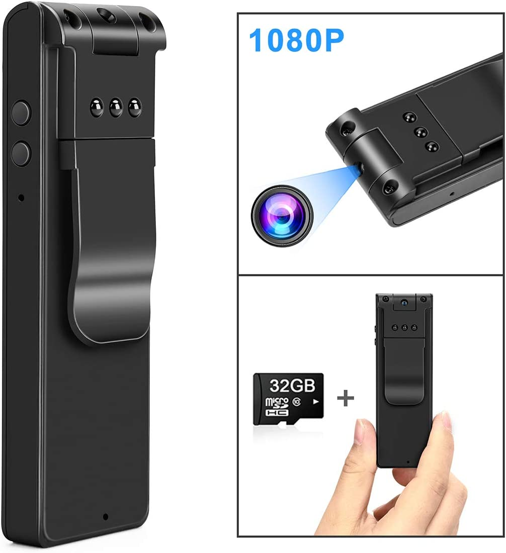 Body Camera HD 1080P-Wearable Small and Mini Camera-Night Vision Portable Cop Pocket Cam-Cop Pocket Cam Convert Video Recorder-One Key Fast Record Police Body Cameras for Home/Office(with 32G Card)