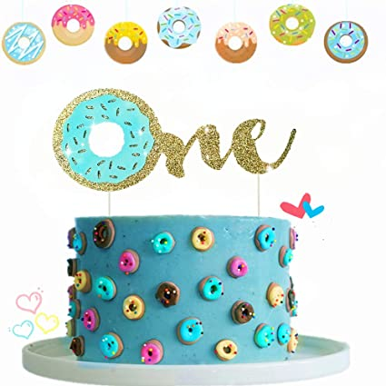 Amazon JeVenis Glitter Blue Donuts Cake Topper One