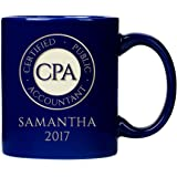 CPA Round Badge 11 Ounce Ceramic Mug with Sandblasted Design, Tea and Coffee, CPA Seal Personal Accountant, Royal Blue