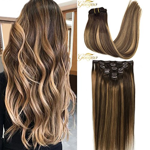 Googoo Clip in Hair Extensions Ombre Chocolate Brown to Honey Blonde Remy Human Hair Extensions Clip in Real Hair Extensions Full Head Straight 7pcs 120g 16inch