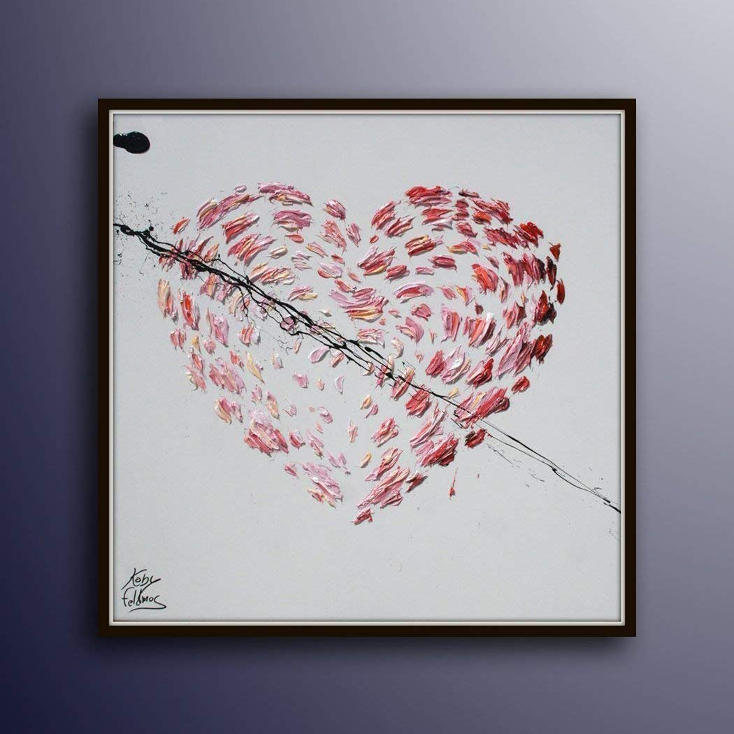 Amazon Com Painting 25 Heart Gift Idea Painting For Couple Above Bed Or Just As A Gift Valentine Gift Idea Girlfriend Gift Koby Feldmsos Handmade