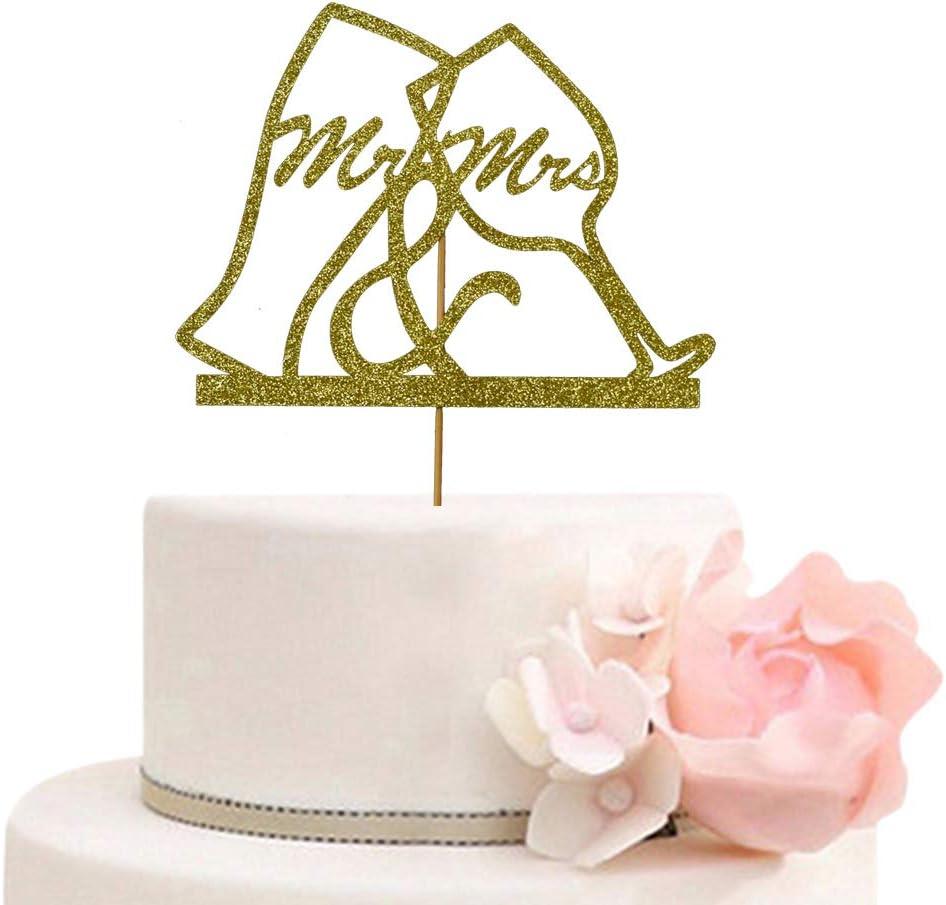 Wedding Bridal Shower Engagement Bachelorette Party Decorations Supplies Gold Glitter Mr /& Mrs Cake Topper
