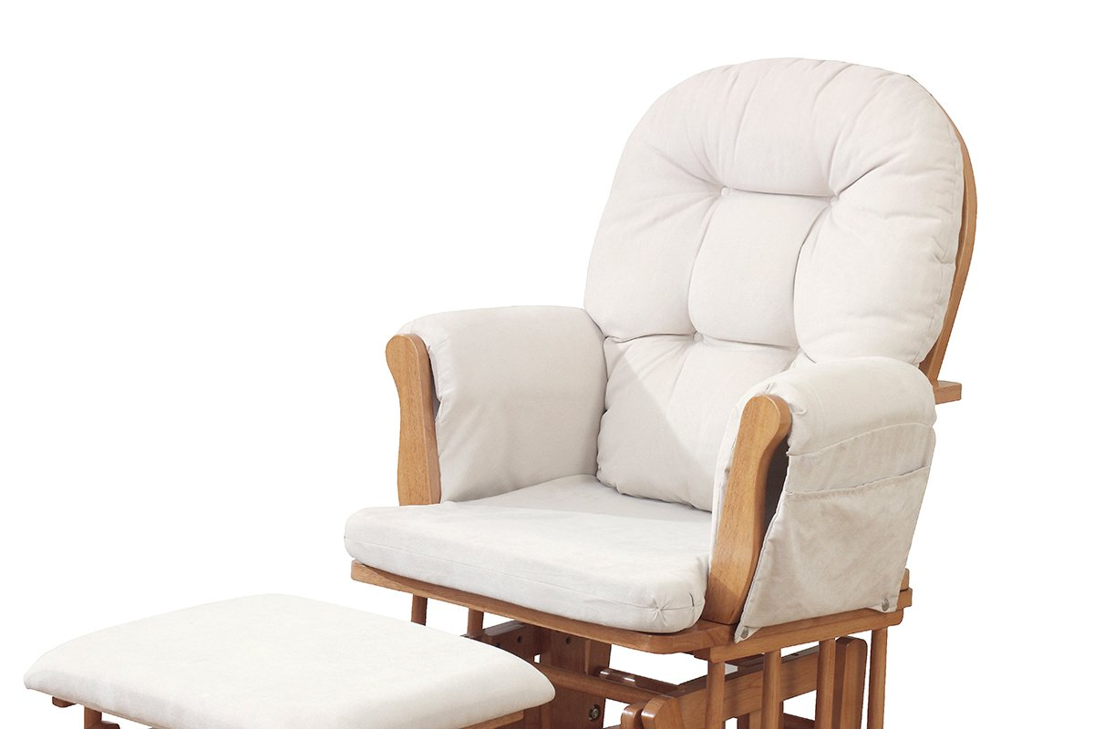 Generous Kub Haywood Natural Finish Glider Chair And Footstool Nursery Decoration & Furniture light Beige Upholstery