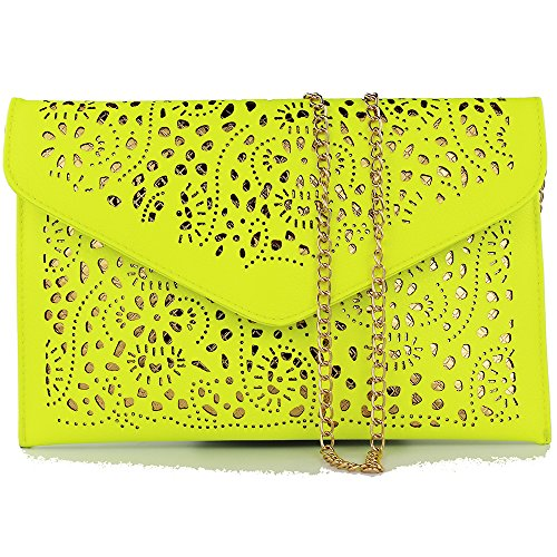 Fashion Handbags 2019 Summer Women Chain Bag Cute Shoulder Handbags Small Cute Fashion Women Shoulder Bag Evening Clutch Bags Party Evening Purses Ladies Girl Day Clutch Party Cutout Bag (Lemon Green)