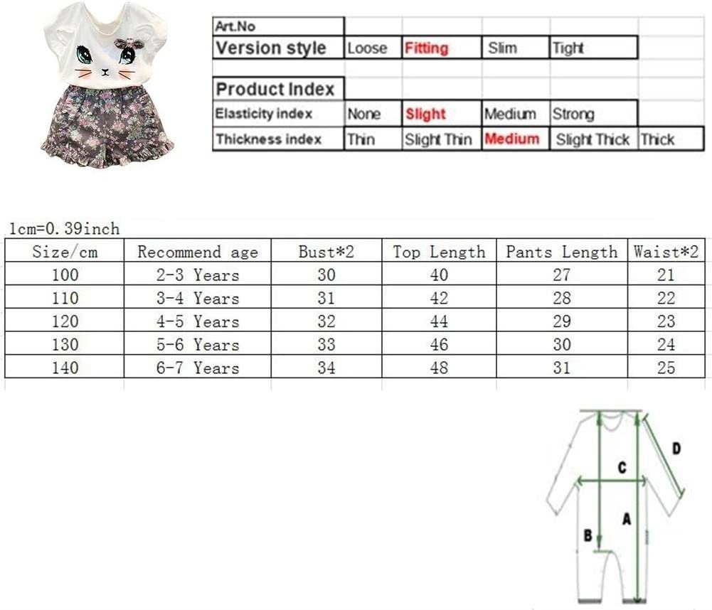 Puseky Toddler Baby Girls Cute Cat T-Shirt+Floral Shorts Kids Summer Clothes Set 2-3 Years, White+Floral
