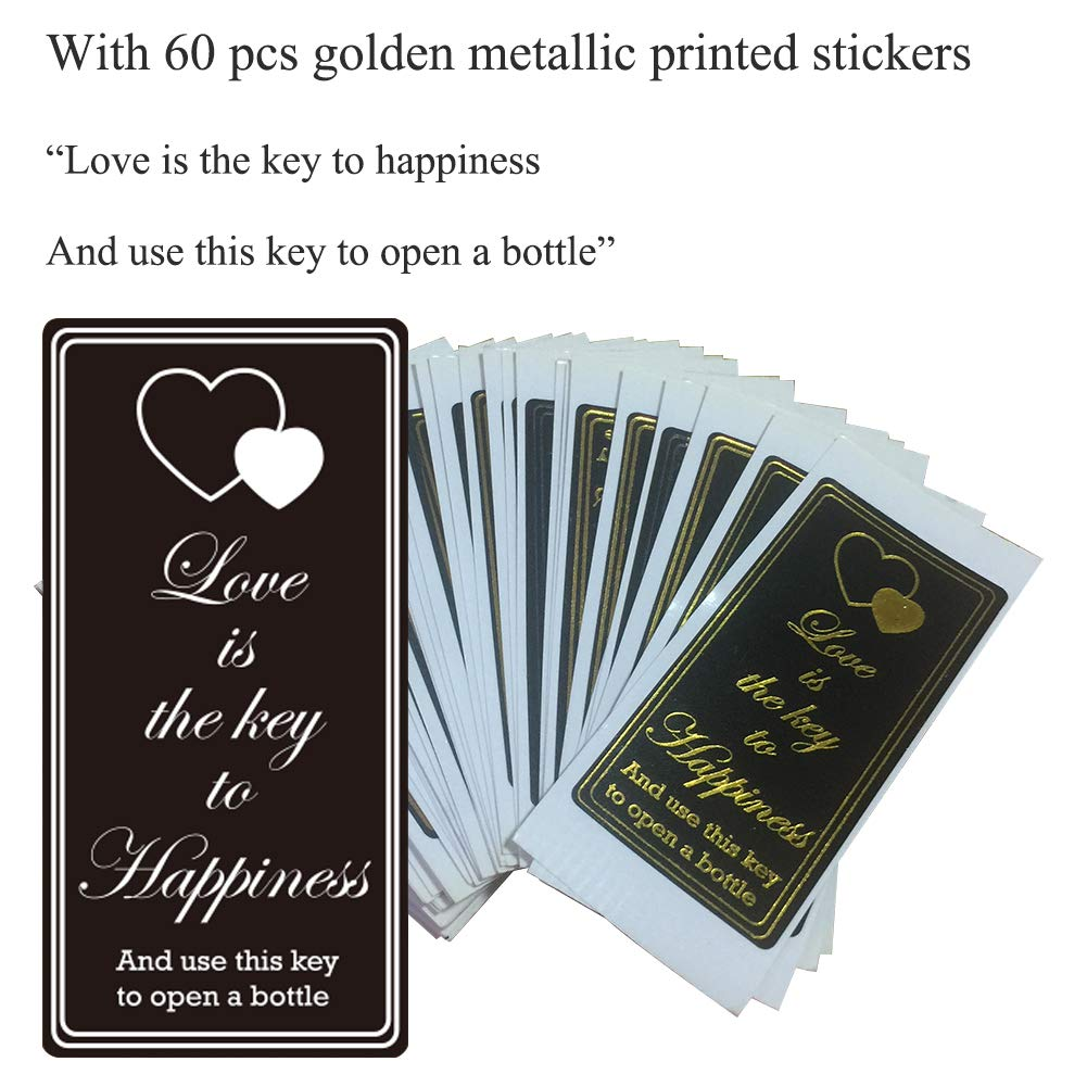 Key Bottle Openers 60 packs- with Escort Tag Card, Love is the Key to Happiness Sticker, Wedding Party Favors, Thanksgiving, Baby Shower and Special Events Decoration (Bronze Vintage Style) by Novalty (Image #6)