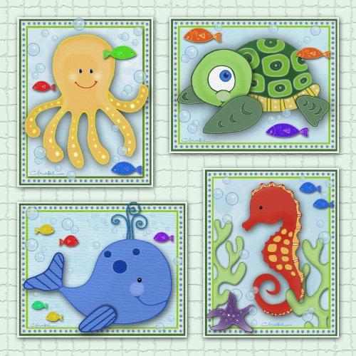 Mod Turtle Wall Art (Sealife Ocean Friends Nursery Wall Art (11