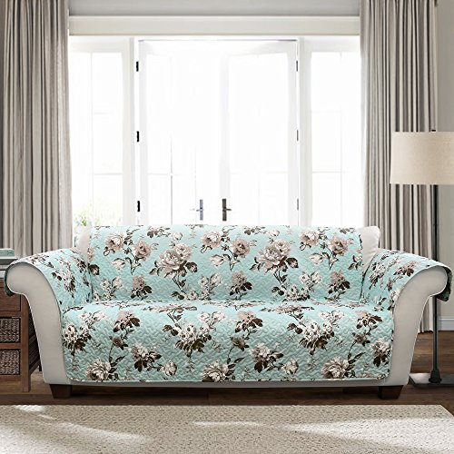 Lush Decor Blue and Gray Tania Furniture Protector-Floral Garden Flower Pattern Sofa Cover from Lush Decor