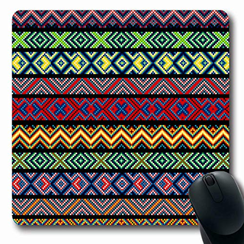 Ahawoso Mousepads Rushnik Red Needlepoint Folk Stitch Pattern Ribbon Border Canvas Craft Cross Design Drawing Oblong Shape 7.9 x 9.5 Inches Non-Slip Gaming Mouse Pad Rubber Oblong Mat ()