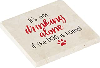 product image for Imagine Design Relatively Funny It's Not Drinking Alone, Travertine Coaster, One Size, Red/Black/White