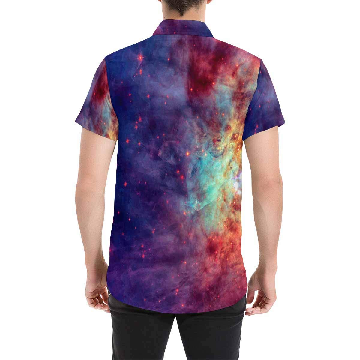 InterestPrint Men Botton Up T-Shirt Smiling Star and Sleeping Moon Regular Fit Short Sleeve Polo Casual T-Shirts