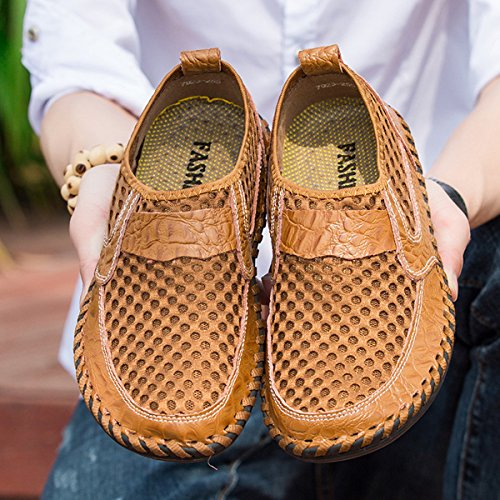 gracosy Mesh Casual Shoes, Summer Men's Mesh Breathable Walking Loafers, Slip-on Shoes, Hiking Shoes with Genuine Leather - Comfortable, Soft, Durable, Lightweight and Fashional Brown