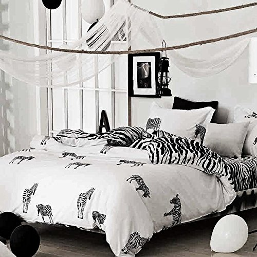 Womens Duvet (Zebra Print Duvet - Cover - Set - Queen White and Black, Animal Pattern Microfiber Comforter Quilt Bedding Cover with Zipper Closure, for Men and Women Nanko)