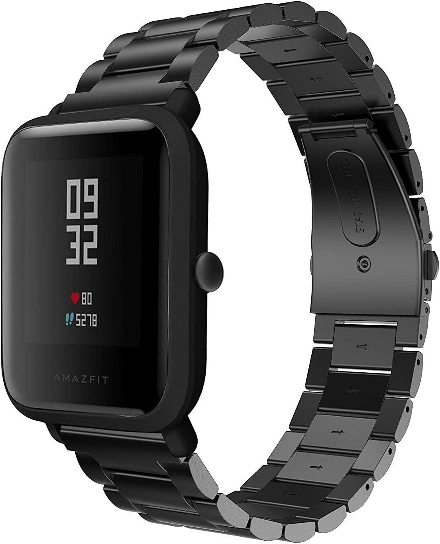 Saisiyiky Correa Compatible con GTS Reloj juvenil acero inoxidable 20 mm correa de reloj hebilla de metal
