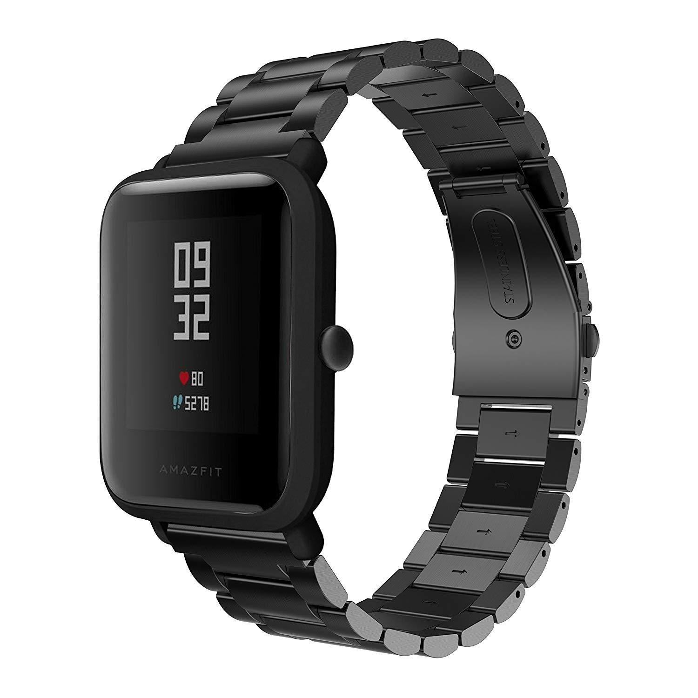 Saisiyiky Correa Compatible con Amazfit Bip Xiaomi Huami Reloj juvenil acero inoxidable 20 mm correa de reloj hebilla de metal
