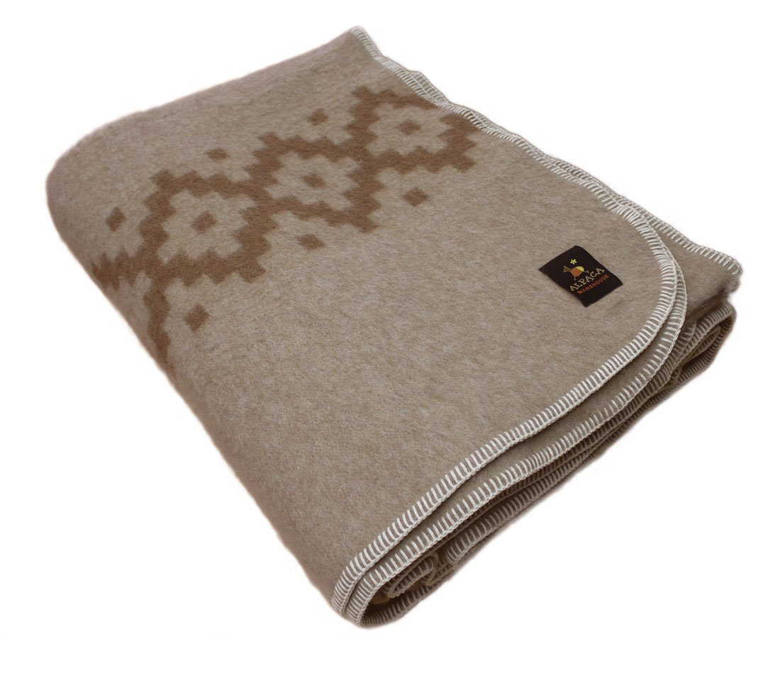 Thick Alpaca Wool Blanket King Size - Ethnic Design
