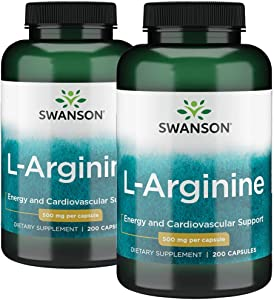 Swanson L-Arginine Essential Amino Acid Energy Cardiovascular Support Health Supplement (Free-Form Amino Acid, Nitric Oxide Precursor) 500 mg 400 Capsules (Caps) 2 Bottles