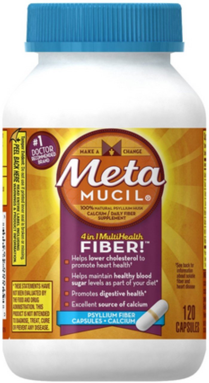 Metamucil MultiHealth Daily Fiber Supplement + Calcium, Capsules 120 ea (Pack of 5)