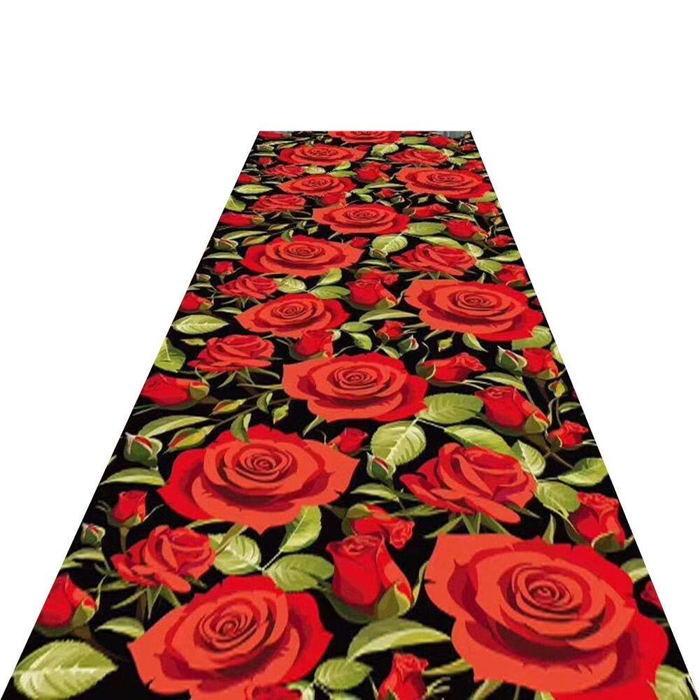 JIAJUAN 廊下のカーペット ランナー ラグ 滑り止め 3Dプリント コンテンポラリー フローラル 設計 エリア 敷物 キッチン エントランス ランナー マット (色 : A, サイズ さいず : 0.6x5m) B07RMYSLMW A 0.6x5m