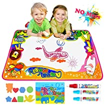 Semaco Water Drawing Mat, Drawing Painting Doodle Mat Aqua Magic Mat, Ideal Kids Toys Toddlers Painting Board Writing Mats with 3 Magic Pens and Drawing Booklet for Boys Girls Gift Size 34.5 X 22.5