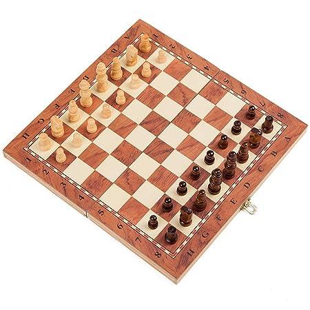Kanqingqing Tablero de ajedrez 3-en-1 Viajes de ajedrez y Damas y ...