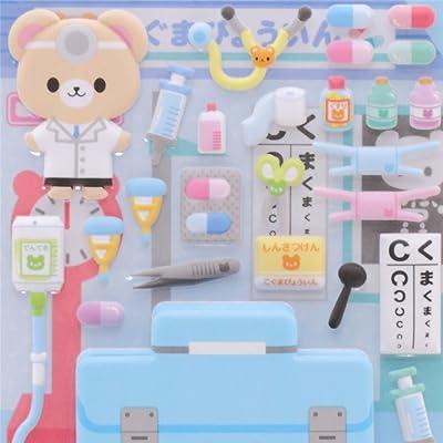 Kamio Pegatinas esponjosas Adhesivos con Oso médico: Juguetes y juegos