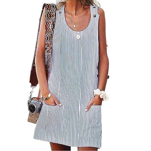 2b5017583e2b Women Camisole Dresses Summer Sleeveless Crew Neck Daytime Casual Button  Pockets Striped Mini Skirt at Amazon Women's Clothing store: