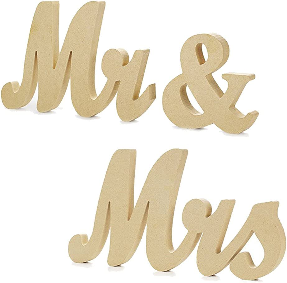 HAOLIVE Thick Extra Stable Rustic Natural Wooden MR & MRS Wedding Sign Elegant Sweetheart and Reception Top Table Sign (Nature Wood)