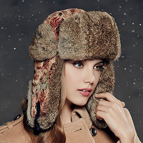 Kenmont Winter Outdoor Women Lady Natural Rabbit Fur Bomber Aviator Hat Ski Cap (Red)