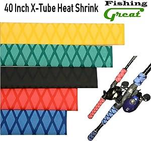 Greatfishing Diameter: 25mm 30mm 35mm X-Tube Heat Shrink Sleeve Wrap Fishing Bulding Handle Cork Rod Grip with Non Slip Waterproof and Insulation 40 Inch Lengths Durable Repair