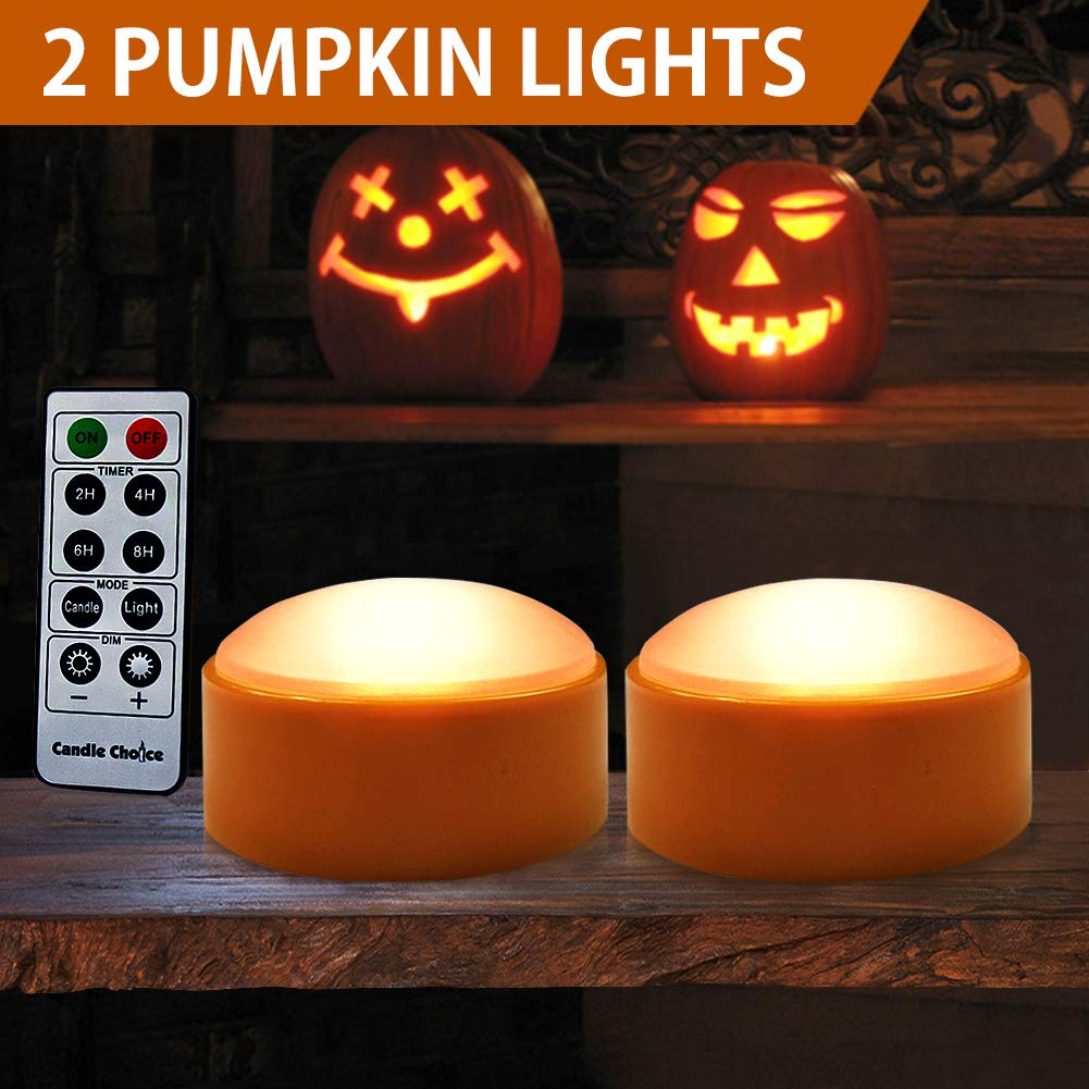 HOME MOST Halloween Pumpkin Lights with Remote and Timers - Orange Pumpkin lights LED Battery Operated Halloween Decor - Halloween Jack-O-Lantern LED light up Decoration Outdoor - Led Lights Halloween HOME MOST DESIGN HOUSE 12711