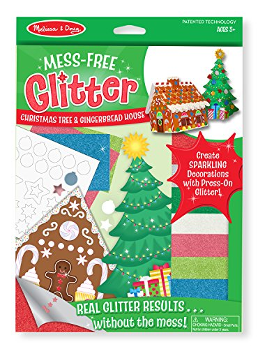 Free Glitter Christmas Tree and Gingerbread House (Christmas Glitter Art)