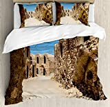 Galaxy Duvet Cover Set by Ambesonne, One of Abandoned Sets of the Movie Tunisia Desert Phantom Menace Galaxy Wars Themed, 3 Piece Bedding Set with Pillow Shams, King Size, Brown Blue