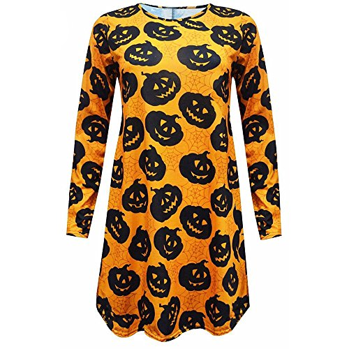 Clearance Sale!Toimoth New Womens Ladies Halloween Pumpkin Skull Long Sleeve Party Mini Dress (Yellow,L)]()