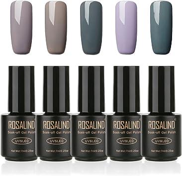 ROSALIND Gel Nail Polish Soak Off UV LED Esmalte semipermanente Manicura Pedicura salón uñas, 5 Pack, 7ml (gris): Amazon.es: Belleza