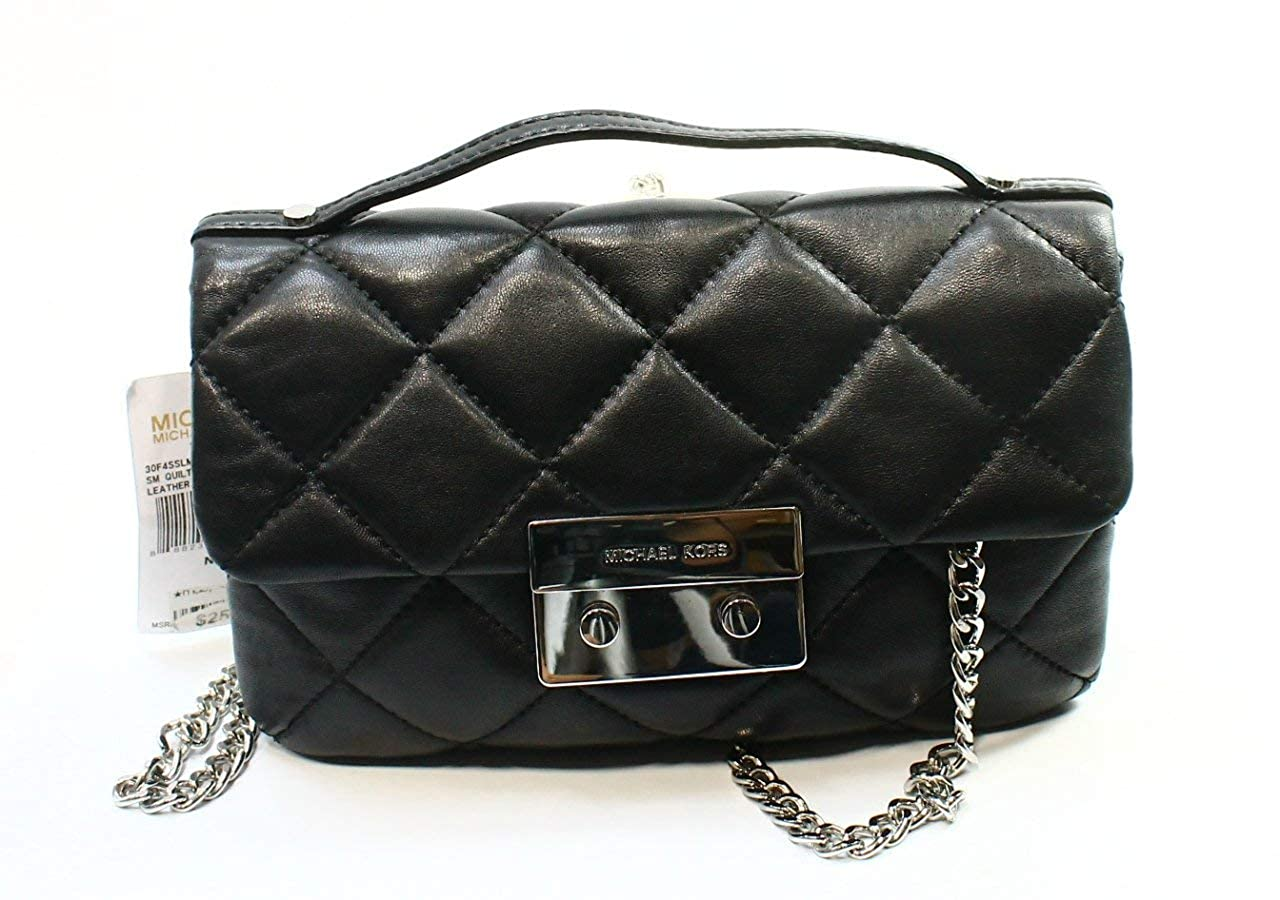 39f66df0f917ae Amazon.com: Michael Kors Sloan Small Quilted Messenger Black Leather: Shoes