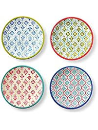 kavala mixed appetizer plates fun patterns in a vibrant palette melamine appetizer plates - Horderves Plates